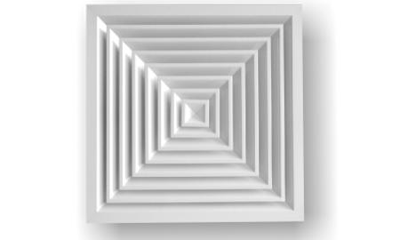 Anemostat pătrat cu difuzie in 4 direcţii, aluminiu