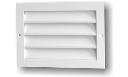 Grile de exterior rectangulare cu jaluzele fixe şi plasă metalică