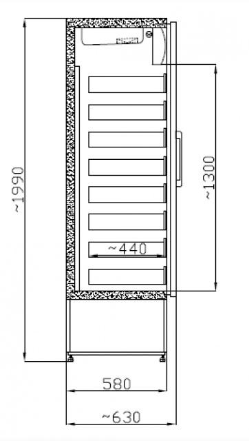 SCHA 601 INOX Glass door cooler with drawers