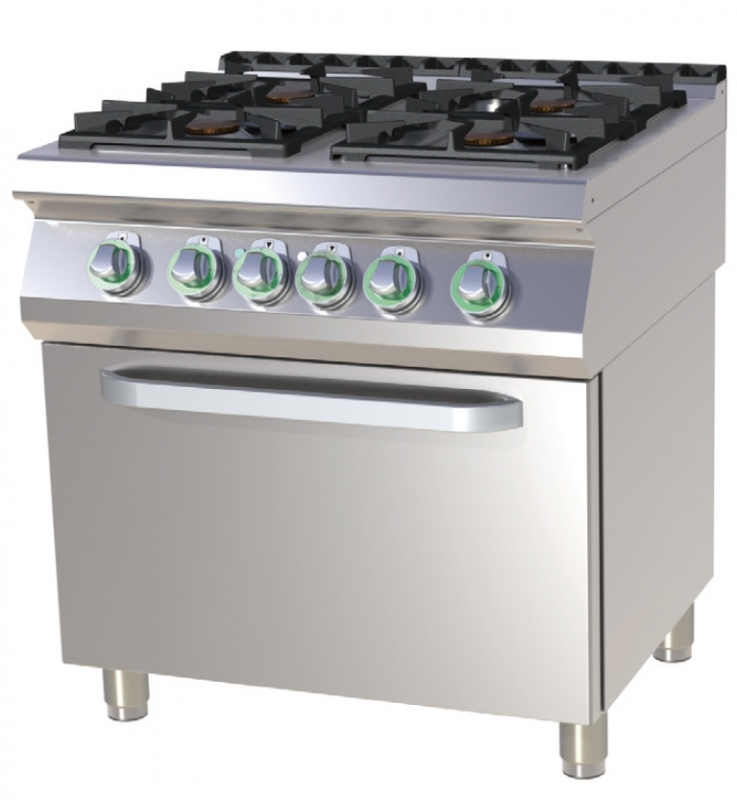 SPT 780/11 GE - Gas range with 4 burners and electric convection oven
