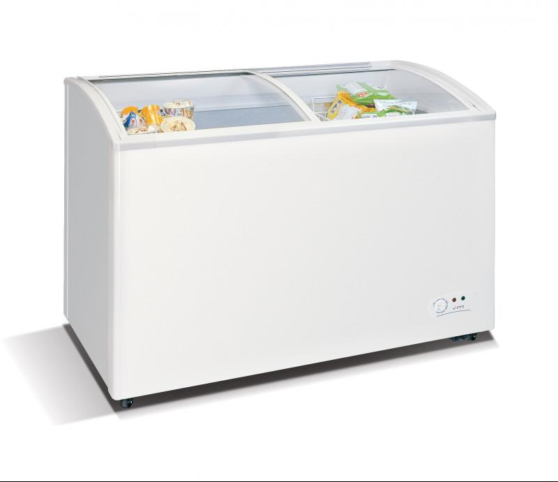 WD-330Y Chest freezer with slanting, sliding and convexed glass door
