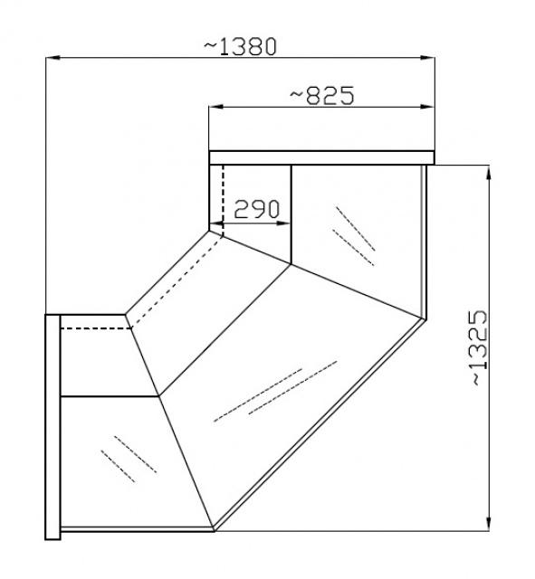 NCHZ 1,3/0,8 Straight glass external corner counter (90°)