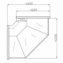 NCH I Z - Hajlított üvegű külső sarokpult (90°)