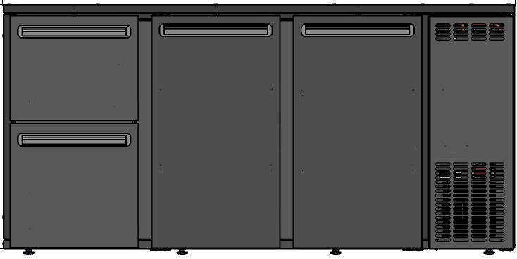 DCL-522 MU/VS - Bárhűtő 1 ajtóval, 2-2 különböző fiókkal