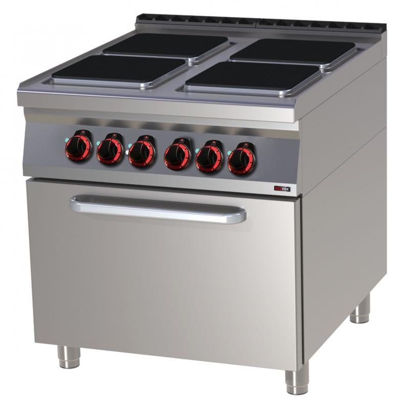 SPQT 90/80 11 E Mașină de gătit electrică cu 4 plite pătrate și cuptor cu convenție