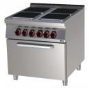 SPQT 90/80 11 E Elektromos tűzhely 4 szögletes főzőlappal, légkeveréses sütővel