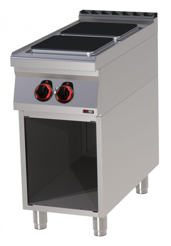 SPQ 90/40 E-2 főzőlapos elektromos tűzhely nyitott alsó tárolóval