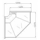 NCHSNZ 1,3 - Hajlított üvegű külső sarokpult (90°)