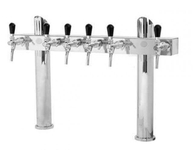 Tower T6 - Coloană de bere cromat cu două coloane și 6 robineți