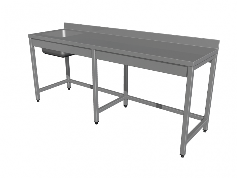Work tables with sink, without shelf, with 6 legs
