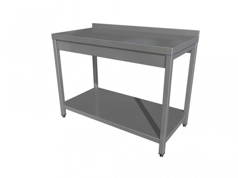 Work table with shelf with 4 legs