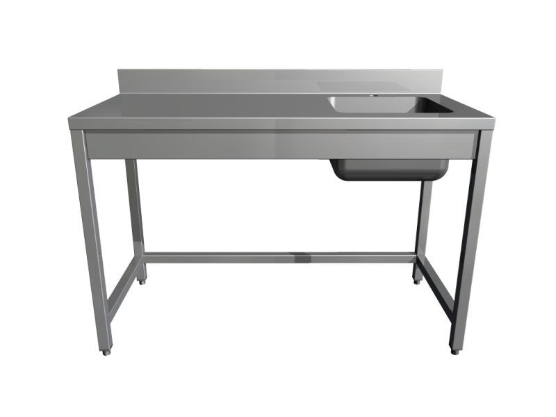 Work tables with sink, without shelf,with 4 legs