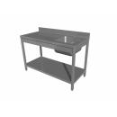 Rozsdamentes mosogatóasztal, alsó polccal, 4 lábbal