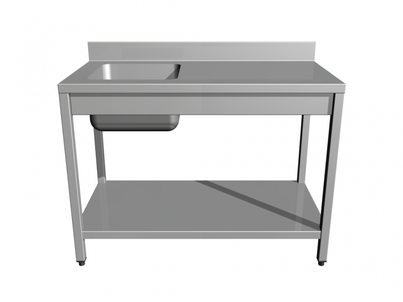 Work tables with sink with shelf