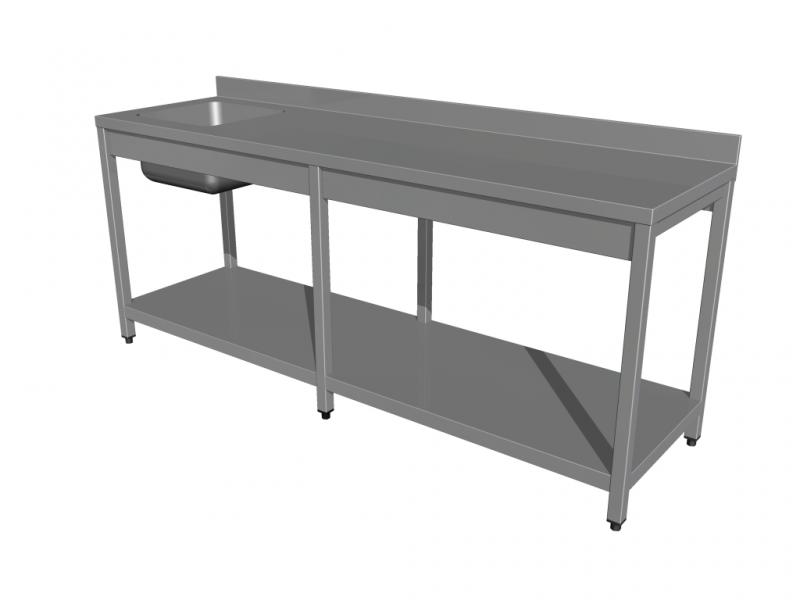 Rozsdamentes mosogatóasztal, alsó polccal, 6 lábbal