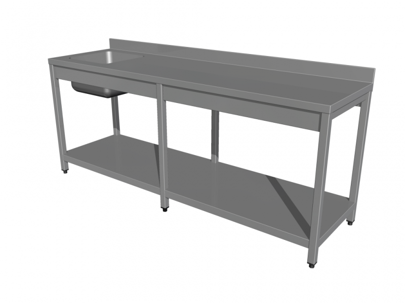 Work tables with sink, with shelf, with 6 legs