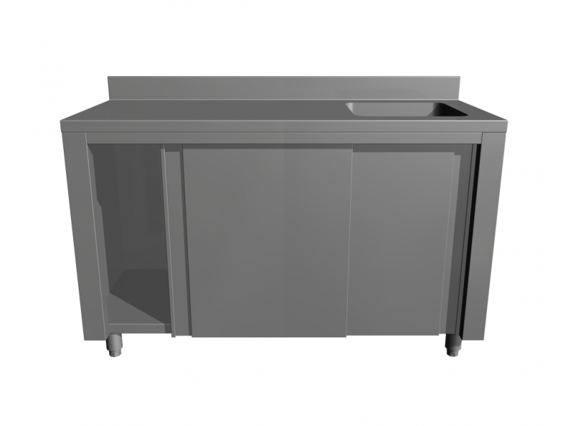 Work tables with sink with bottom cupboard
