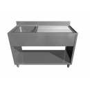 Stainless steel sink with bench and bottom self