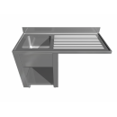 Stainless steel sink grouped in cantilever bench