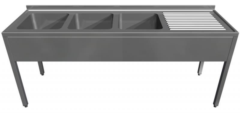 Rozsdamentes három mosogatóval egybeépített konzolos munkaasztal