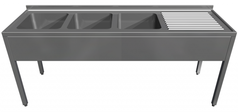 Triple stainless steel sink with bench and bottom self