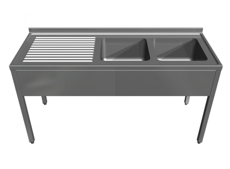 Rozsdamentes két mosogatóval egybeépített konzolos munkaasztal