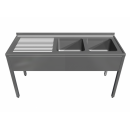 Double stainless steel sink with bench and bottom self