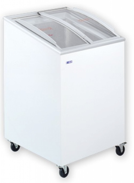 UDD 100 SCEBG Chest freezer with slanting, sliding and convexed glass door