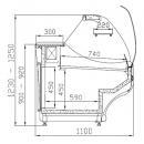 WCH-6/1BZA 1570 WEGA - Hajlított üvegű csemegepult telepített aggr.(V)