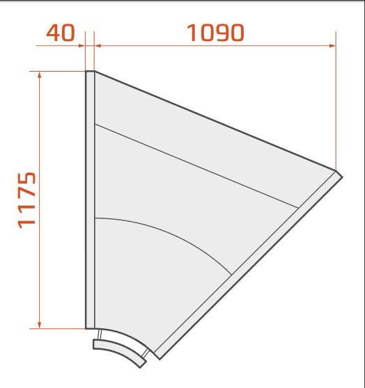LCK Kolumba NW - Belső sarokpult 45°