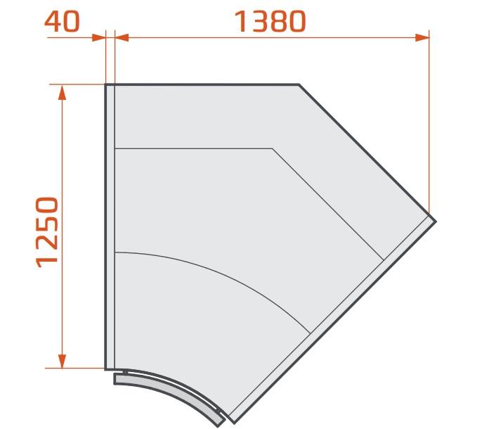 LCP Pegas SPH SELF INT45 Vitrină frigorifică de colț interior cu autoservire