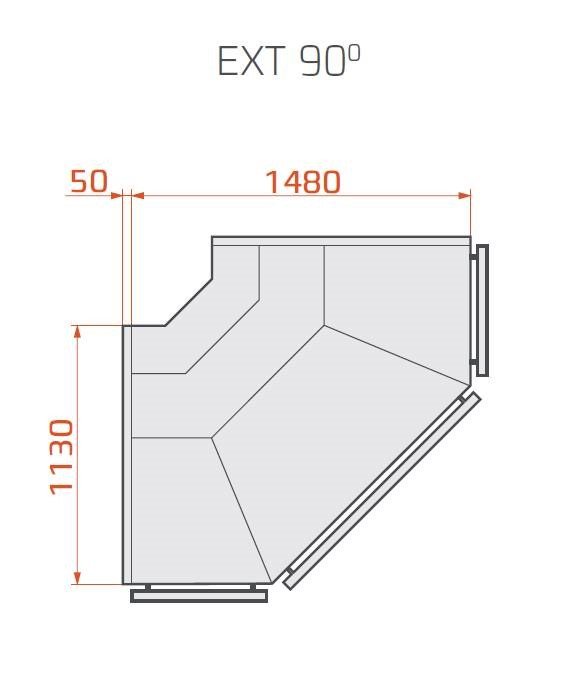 LCT Tucana 01 REM EXT90 - External corner counter with liftable front glass 90°