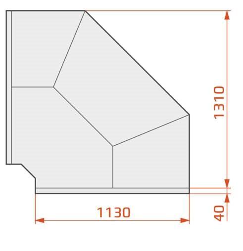 Vitrină frigorifică de colţ exterior 90°   LCD DORADO EXT90