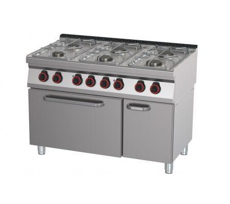 Mașină de gătit pe gaz cu 6 arzătoare și cuptor electric   SPBT 70/120 21 GE