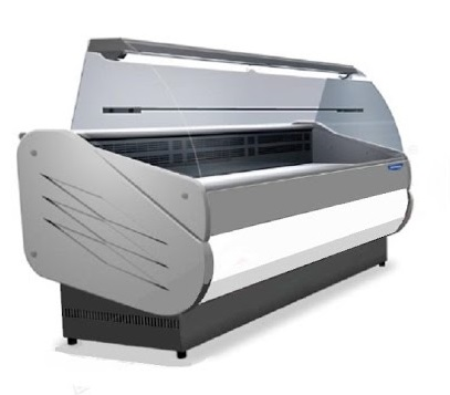 Counter with curved glass with built-in aggr.   SALINA80VC-100