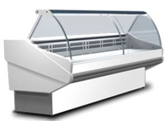 Counter with curved glass with built-in aggr.   SALINA PLUS-100