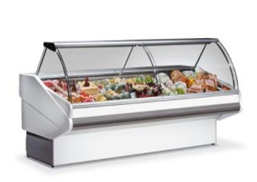 Counter with curved glass with built-in aggr.   SALINA LUX-100