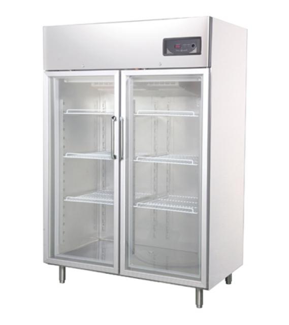 GNC1400L2G - Rozsdamentes kétajtós hűtővitrin