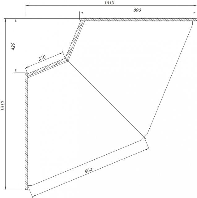C-1 NW 90 BLN BELLISSIMA - Neutral internal corner counter (45°)