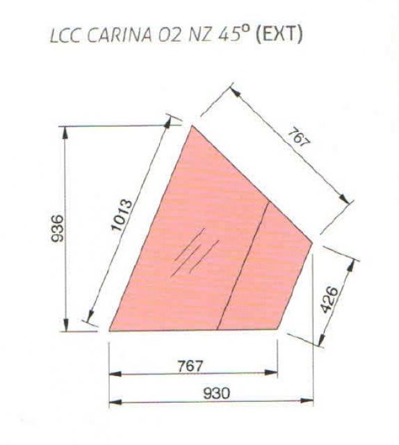 Element de colț exterior neutru   LNC Carina 02 EXT 45NZ