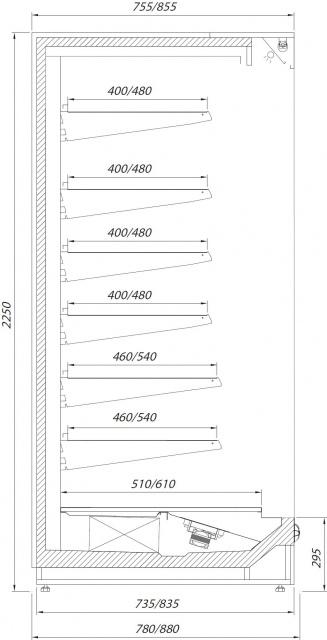 R-1 130/80 PRAGA MINI PLUS Refrigerated wall counter