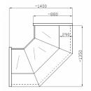 Vitrină de colţ interior (90°) NCHCW 1,3/0,9