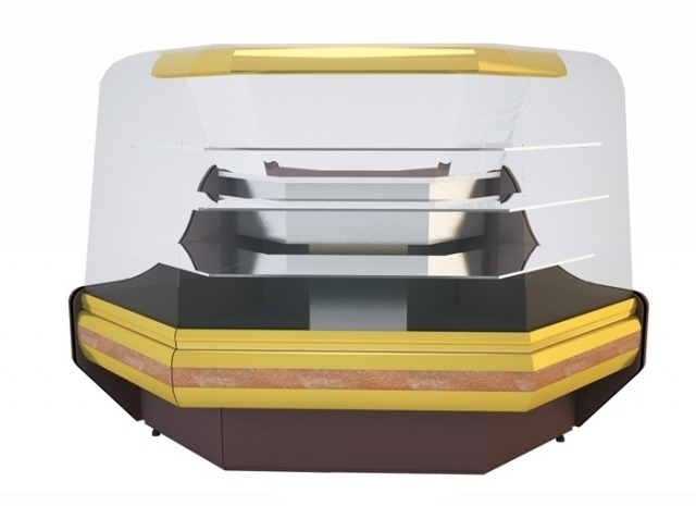Vitrină de colţ exterior cu geam curbat (90°) NCHCGZ 1,3/0,9