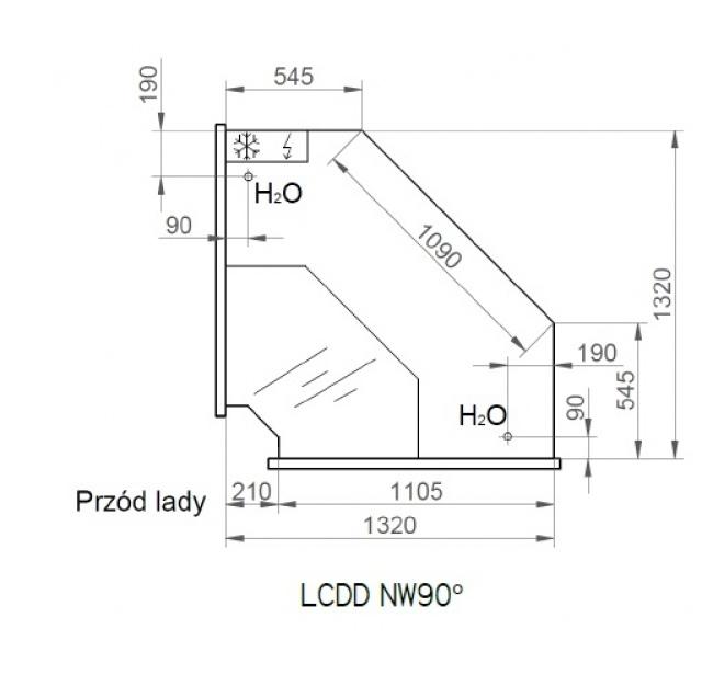 LCD D NW SELF Dorado | Vitrină frigorifică de colț interior 90°
