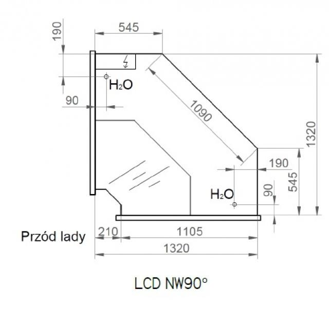 Vitrină frigorifică de colţ interior 90° | LCD Dorado D NW