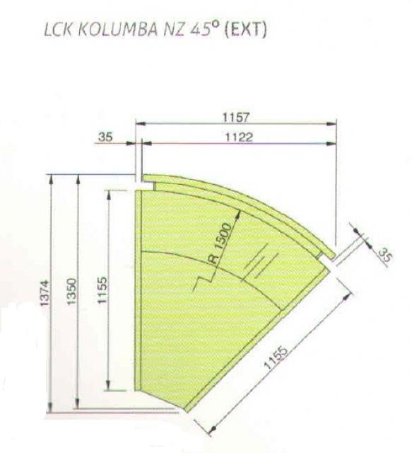 LCK Kolumba NZ - External corner counter 45°