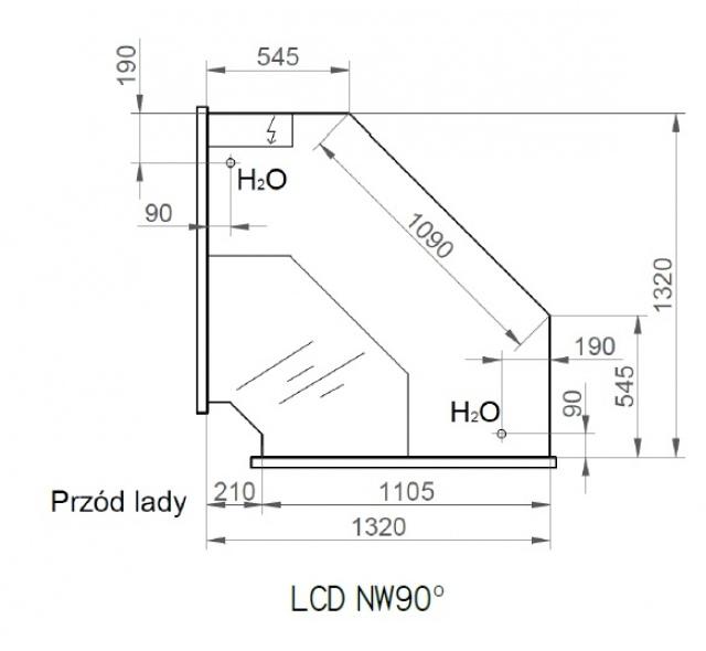 LCD DORADO B/A NW | Vitrină frigorifică de colț interior 90°