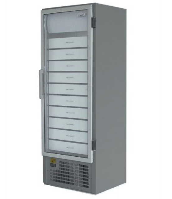 SCHA 601 INOX Glass door cooler with drawers