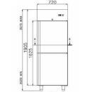 COMBI CF 700 INOX - Kombinált rozsdamentes hűtő-, fagyasztószekrény