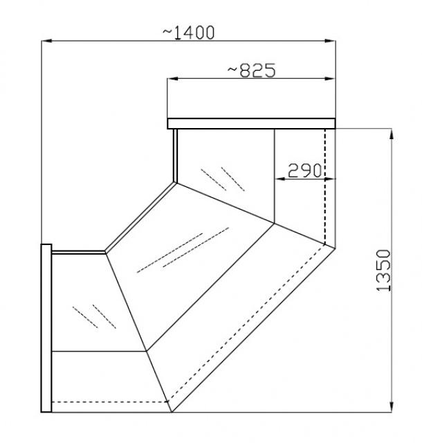 NCHW 1,3/0,8 Straight glass internal corner counter (90°)